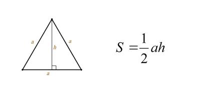 Площа рівностороннього трикутника через сторону і висоту